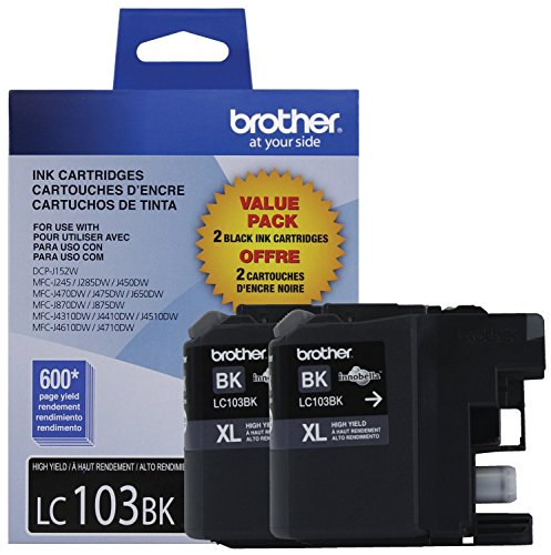 Brother LC1032PKS Printer High Yield Cartridge Ink Black (2-Pack)