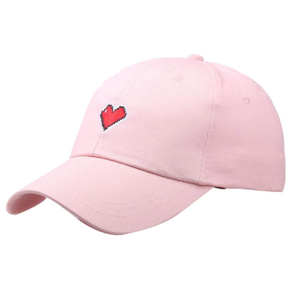 Unisex Summer Outdoors Love Embroidery Visor Baseball Cap Adjustable Hat Dad Hats (Pink, Size:Adjustable)