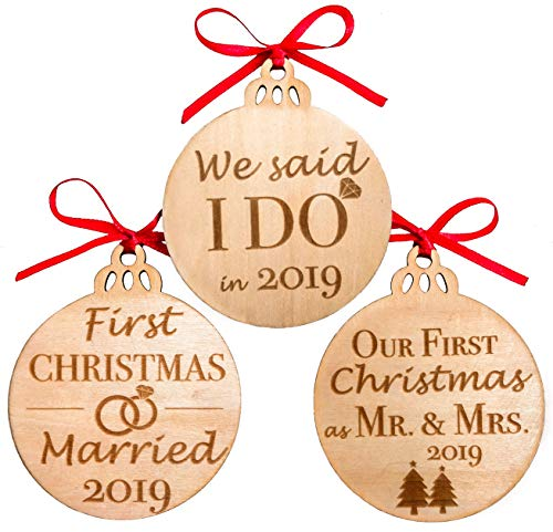 MaxDigital Our First Christmas Ornament Mr & Mrs Gifts for Newlyweds Wooden Christmas Tree Ornaments, Set of 3 (Couple Gifts Married 1st Christmas)
