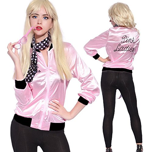 Tdmall 50s Costume Party Ladies Jacket Adult Standard Pink with Scarf L