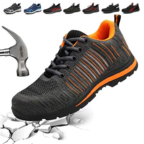 e85c55163b44c DESTURE Safety Shoes with Steel Toe Cap and Mid-Sole for Men Women Fashion  Work Shoe Outdoor Hiking Sneakers from, U519AQX001,W.Orange,45