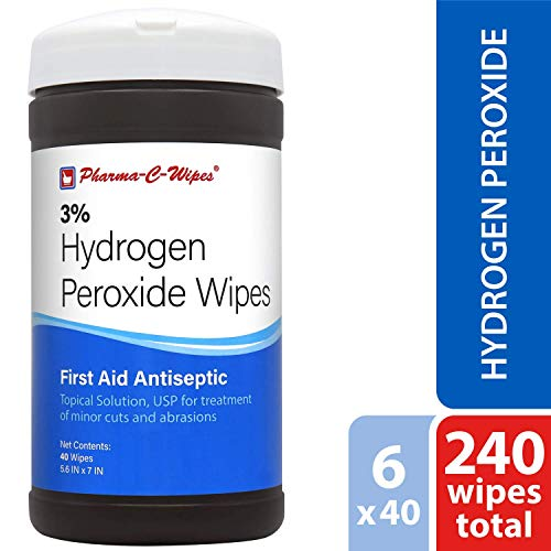 Pharma-C-Wipes 3% Hydrogen Peroxide Wipes (6 Canisters of 40 Wipes for a Total of 240 ()