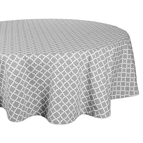 DII Round Lattice Cotton Tablecloth for Weddings, Picnics, Summer Parties and Everyday Use - 70 Round, Gray and White