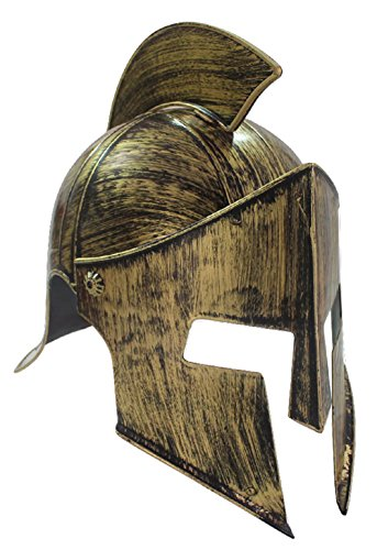 Spartan Costume Helmet (Medieval Iron Knight Helmet Gold Bronze Roman Spartan Warrior Greek Costume)