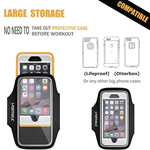 PORTHOLIC Sports Armband for iPhone 7 Plus 6s Plus 6 Plus, Android Galaxy S8 Plus, Note 3/4/5 (fits large Otterbox Defender / Lifeproof case) with Key&Cards Holder, Cable Locker (6.5 Inch)