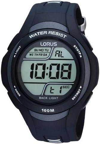 Lorus Sport R2305EX9 - Reloj Digital de Cuarzo para Hombre, Correa de Goma Color Negro (Alarma, cronómetro, luz)
