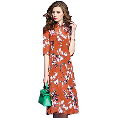 cotyledon Dresses Printed s Dress Silk Casual Loose Women Collar Stand PwqHvwpr