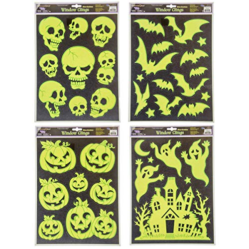 Glow in Dark Halloween Window Clings 4 Sheets - Scream Scapes Horror Decorations Great Party, Interior, Glass Windows -