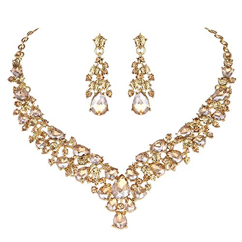 Youfir Austrian Rhinestone Crystal Wedding Gown Prom Ball Necklace Earrings Jewelry Set for Brides Dress (Champagne) ()