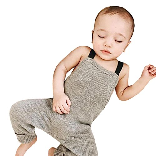 (Sikye Little Boy Overalls Newborn Baby Knitted Rompers Jumpsuit Sleeveless Outfits)