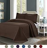 3 Piece Superior Comfy Embossed Bedspread Set,Oversized Ultrasonic Thermal Pressing Embossed Coverlet Set,Moderate Weight Bed Spread,TINOS(King,Chocolate)