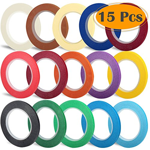 "Selizo 15 Pack 1/8"" Whiteboard Pinstripe Dry Erase Graphic Chart Thin Marking Tape, 15 ()"
