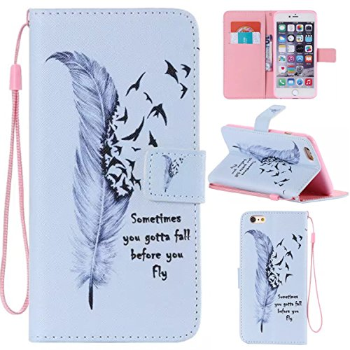 iPhone 6 Plus / 6S Plus 5.5 inch Coque , Apple iPhone 6 Plus / 6S Plus 5.5 inch Coque Lifetrut® [ Wild Goose Feather ] [Emplacement de carte] Pu Leather Flip stand Portefeuille Housse anti-rayures ave