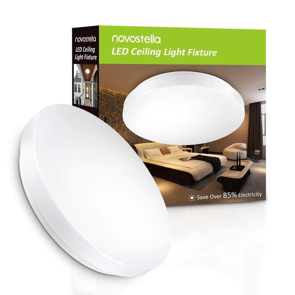NOVOSTELLA Ustellar 15W Waterproof LED Ceiling Lights 1200lm, 100W Incandescent Bulbs Equivalent, 27.5cm/11in Ceiling Lights, IP44, LED Flush Mount Ceiling Light, 6000K Daylight White