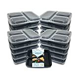 MealStax 3 Compartment [20pk of 1000mL/34oz] New Lid Design Meal Prep Containers BPA Free Bento Boxes (3 comp, 20) by Goodlife Products LLC