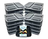 GOODLIFE Products [20 Pack] 3 Compartment Meal Prep Containers BPA Free Portion Control Bento Boxes (20pack, 3 compartment)