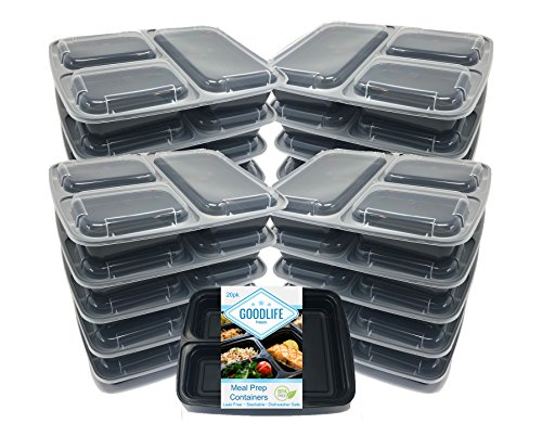 GOODLIFE Products [20 Pack] 3 Compartment Meal Prep Containers BPA Free Portion Control Bento Boxes (20pack, 3 compartment) by GOODLIFE Products