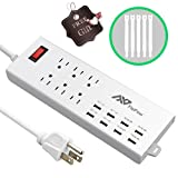 FlePow 6-Outlet Home/Office 1625W/13A Surge Protector/ Power Strip with 8 USB Charging Ports for Smartphone and Tablet