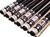 Set of 6 Aska Cards and Dice Billiard Pool Cues, 58'' Hard Rock Canadian Maple, 13mm Hard Tip, Mixed Weights