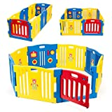 Kidzone Baby Playpen Kids 8 Panel Safety Play Center Yard Home Indoor Outdoor Pen Play Pen Children Activity (Blue)