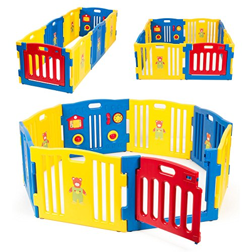 - Kidzone Baby Playpen Kids 8 Panel Safety Play Center Yard Home Indoor Outdoor Pen Play Pen Children Activity (Blue)