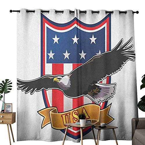 Detroit Red Wings Valance - duommhome American Printed Curtain Flying Eagle with USA Flag Armor Design Shape Liberty Wings in Sky Ilustration Suitable for Bedroom Living Room Study, etc.W96 x L84 Red Blue Black