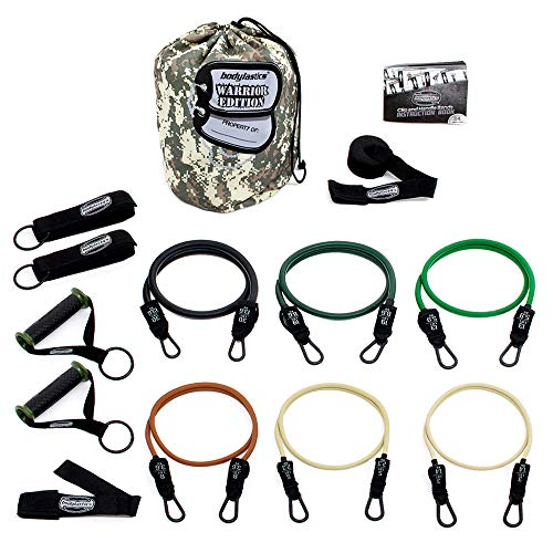 Bodylastics Patented Anit-Snap Combat Ready Warrior Resistance Band Sets Come with 6 or 8 Exercise Tubes, Heavy Duty Components, a Small Anywhere Anchor, a Bag and User Book (14 pcs - 156 lbs)