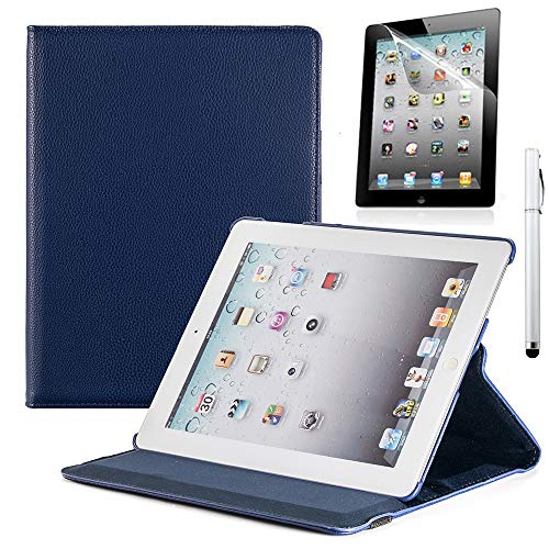 RUBAN iPad 2/3/4 Case - Multiple Angles Stand Smart Protective Cover for iPad with Retina Display (iPad 4th Gen),iPad 3 / iPad 2 (Automatic Wake/Sleep Feature) with Screen Protector - Navy Blue (Best Case For Ipad 4 With Retina Display)