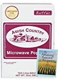 Amish Country Popcorn - Microwave Ladyfinger Butter Premium Popcorn with Recipe Guide- 10 Pack