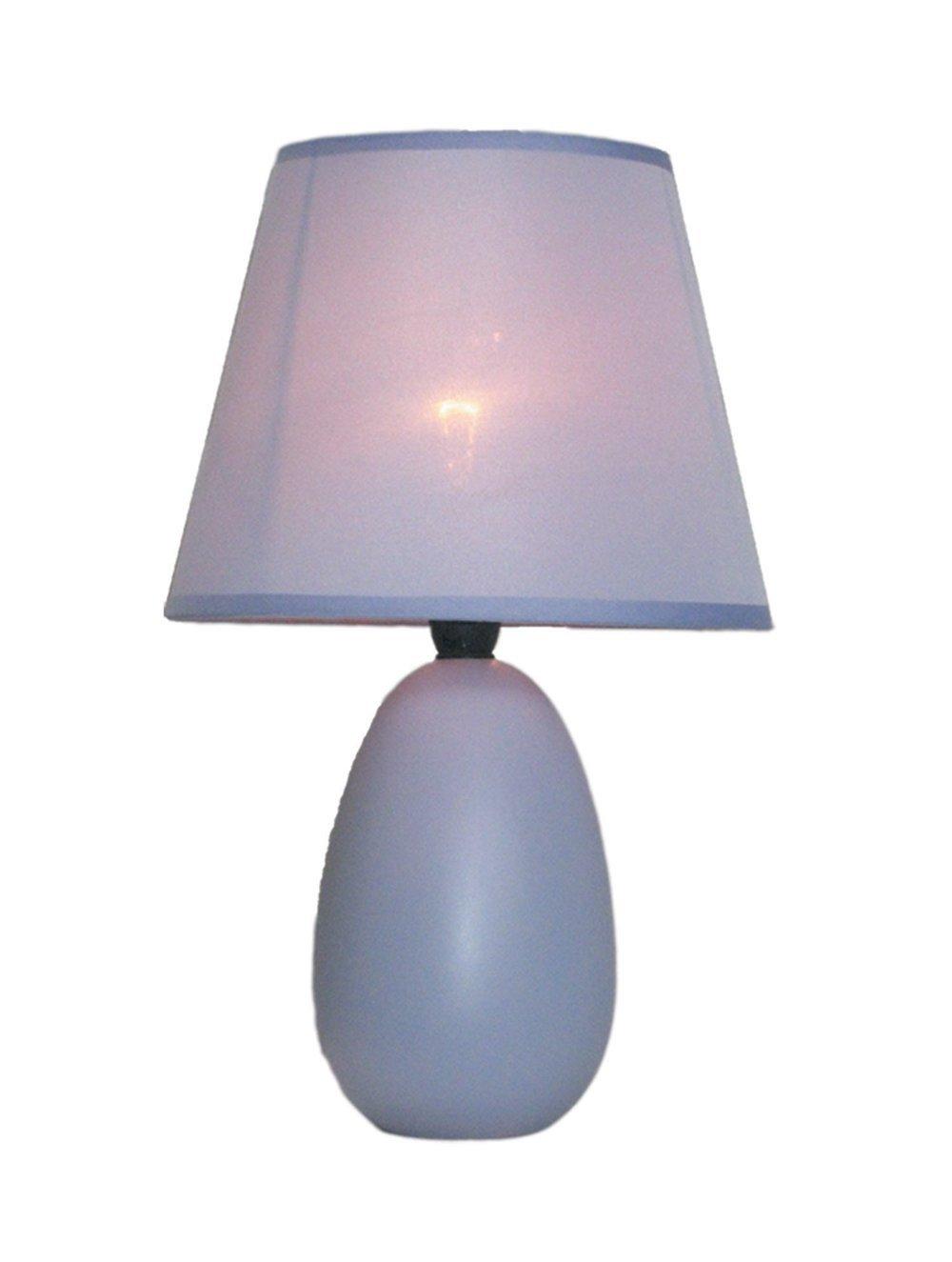 Simple Designs LT2009-PRP Mini Oval Egg Ceramic Table Lamp, Purple