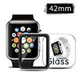 Pasnity Screen Protector for Apple Watch Series 3 (42mm), [Full Coverage] Ultra Clear 9H Hardness [No Bubbles] [Scratch] [Anti Fingerprint] for Apple Watch 42mm / Series 3