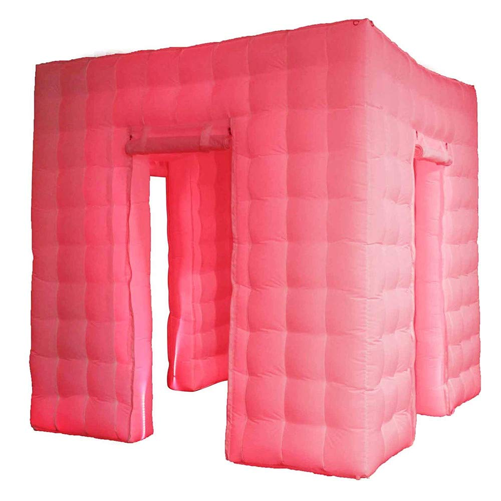 Vogvigo Portable Inflatable Photo Booth Enclosure Inflatable Professional LED Air Photo Booth Tent 17 Colors Led Lights and Air Blower and Photo Booth Props for Party Wedding (Three Doors)