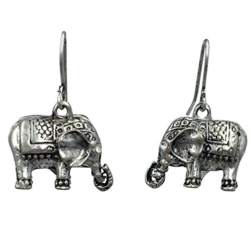 (Pretty Elephant Dangle Drop Lucky Earrings (Silver)