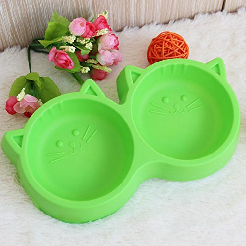 Pet Plastic Bowl - Cat Face Style - Pet Bowl Environmental Protection Non-toxic for Pet's Food - Double Bowl Tableware Pet Feeding Tool-Pet's Products
