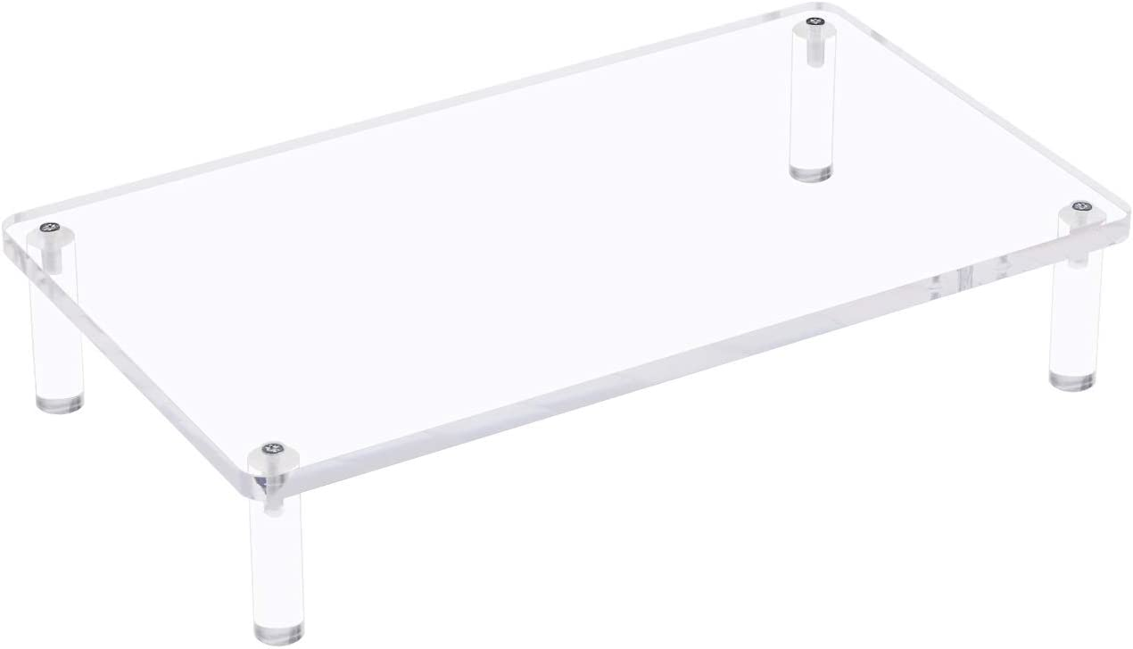 Eglaf Acrylic Monitor Stand Riser - 16.5'' x 9.5'' Desktop Stand for Laptop, Printer, Computer, Pc, Notebook, Flat Screen LCD TV - 3.3'' Hight Ergonomic Clear Platform