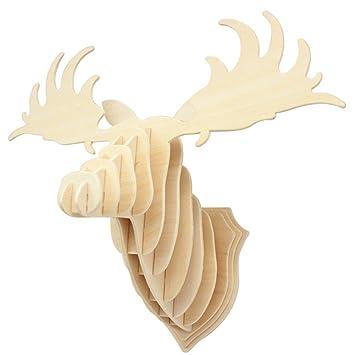 Amazon.com: 3D Wall Decoration Wooden Puzzle Elk Head (RAW305): Home ...
