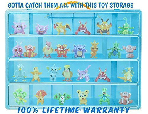 Pokemon Carrying Case- Stores Dozens Of Figures - Durable Toy Storage Organizers By Life Made Better - Blue