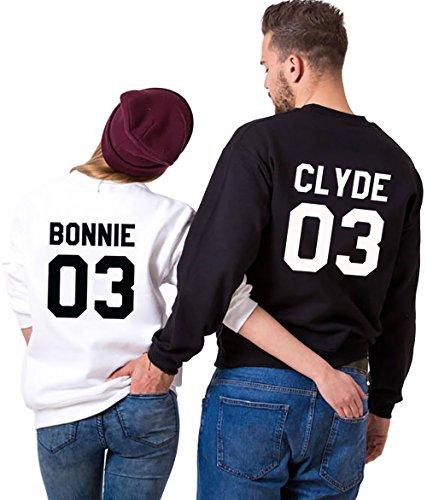 Bonnie Manches Noir Pull Clyde Hoodies JWBBU Paire 2 des Impression Longues et Pullover et Blanc Pieces Homme Couple Set Femme pour 4nxO7xU