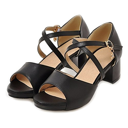 SJJH Low Heel Sandals with Chunky Heel and Cross Straps Large Size 0-10.5 UK Women Shoes with Open Toe Black uowKXsHhR9
