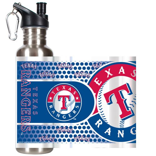 MLB Texas Rangers Water Bottle with Metallic Wrap and Pop-Up Spout, Stainless Steel, 26-Ounce - Texas Rangers Water Bottle