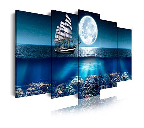 DekoArte 293 - Cuadros Modernos Impresion de Imagen Artistica Digitalizada | Lienzo Decorativo para Tu Salon o Dormitorio | Estilo Paisajes Mar Oceano Barco Velero | 5 Piezas 150 x 80 cm