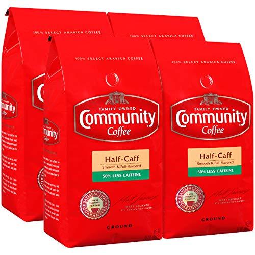 Community Coffee Half Caff Medium Dark Roast Premium Ground 32 Oz Bag (4 Pack), Full Body Smooth Full Flavored, 100% Select Arabica Coffee Beans