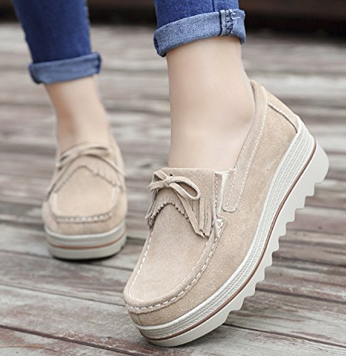 On Casual 35 Lightweight 42 Footwear Slip Women 2 Rainrop Suede Loafers Khaki Platform Shoes qvq80wX