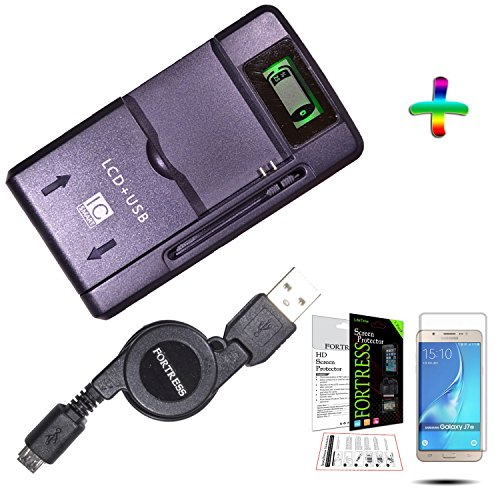 Samsung Galaxy J7 Universal Emergency Home Travel Charger Plus Retractable MicroUSB Data / Charging Cable + Crystal Clear Screen Protector, LCD Kit Exact Fit No Cutting Needed, By ()