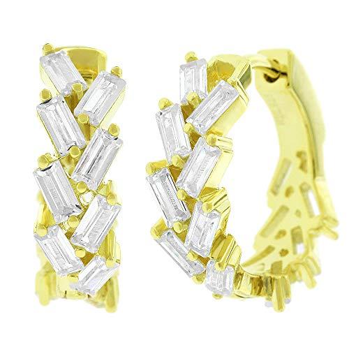 .925 Sterling Silver Womens Fancy Clear CZ Baguette Cubic Zirconia Stone Round Huggie Hoop Earrings ()