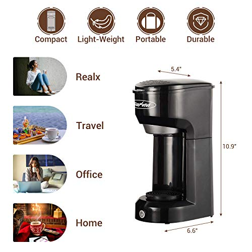 K-Cup Coffee Maker, Stamo Single-Serve Coffee Brewers with Permanent Filter, 6-14OZ Reservoir One-Touch Button Coffee Machines, 1000W Fast Brew Technology Auto Shut Off, Black