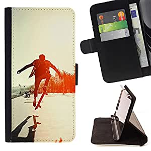 - Skateboard HipPop Man Funny - - Style PU Leather Case Wallet Flip Stand Flap Closure Cover FOR Samsung Galaxy A3 - Devil Case -