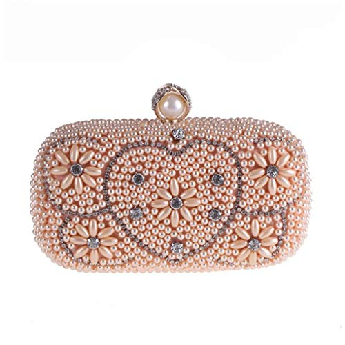 Jancerkmou Evening Pearl Diamond Beaded Women's Purse Wedding Wallet Tote Heart Flap Clutch Shoulder Bags with Chain Champage