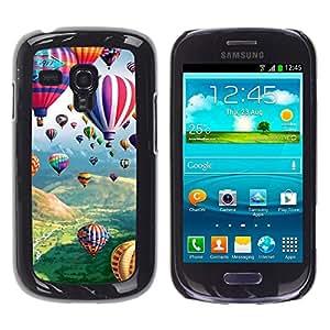 Qstar Arte & diseño plástico duro Fundas Cover Cubre Hard Case Cover para Samsung Galaxy S3 III MINI (NOT REGULAR!) / I8190 / I8190N ( Balloon Hot Air Flying Nature Sky)