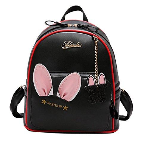 Women Cute Pu Leather Backpack With Rabbit Ears Bag Female Kawaii Bookbag Backpacks Teenage Girls School Bags (Versace Double Handles Bag)